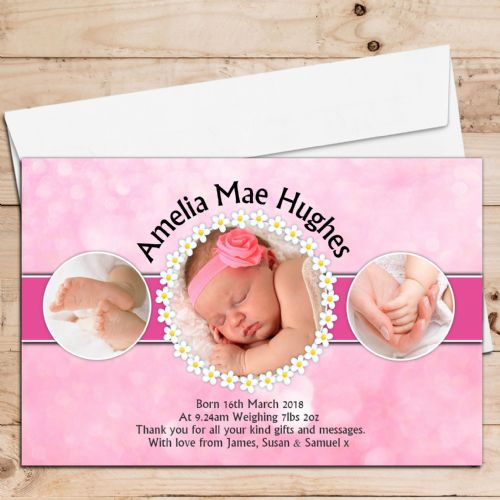 10 Personalised Baby Girl Birth Announcement Thank You Photo Cards N34